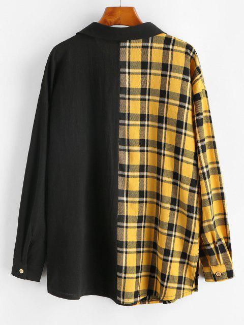 womens Button Down Contrast Plaid Flap Pockets Shirt - BLACK M Mobile