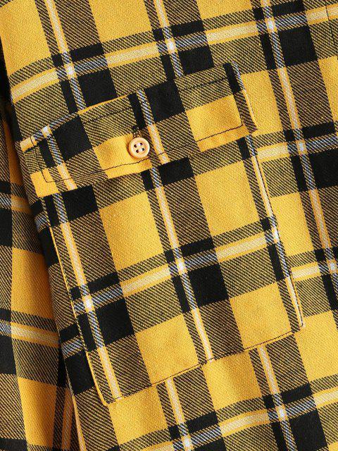 fancy Button Down Contrast Plaid Flap Pockets Shirt - BLACK XL Mobile