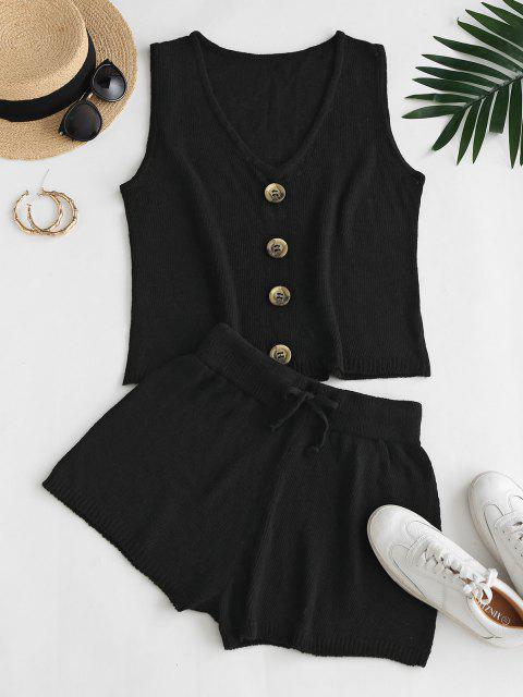 V Neck Buttoned Front Vest Two Piece Set - أسود S Mobile