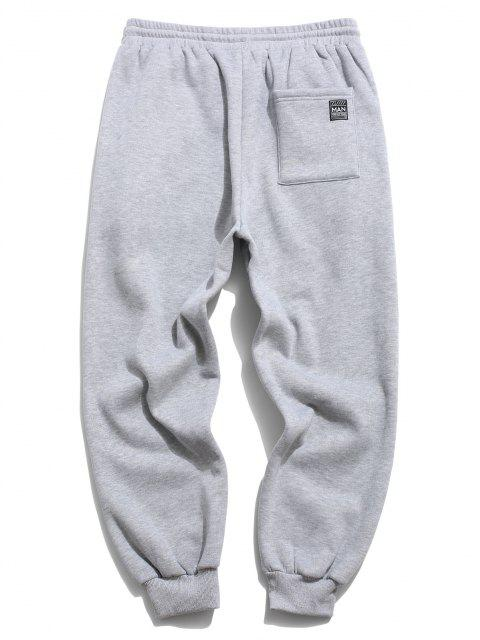 outfit ZAFUL Letter Applique Drawstring Fleece Sweatpants - LIGHT GRAY 2XL Mobile