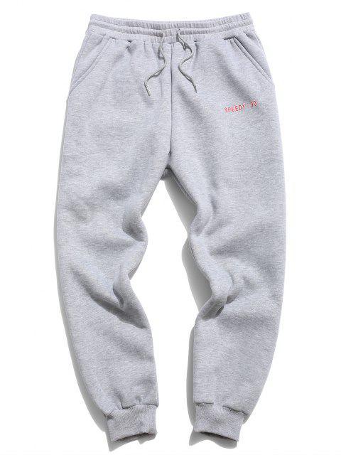 ZAFUL Pantalones Deportivos Lana Aplique Letras - Gris Claro XL Mobile