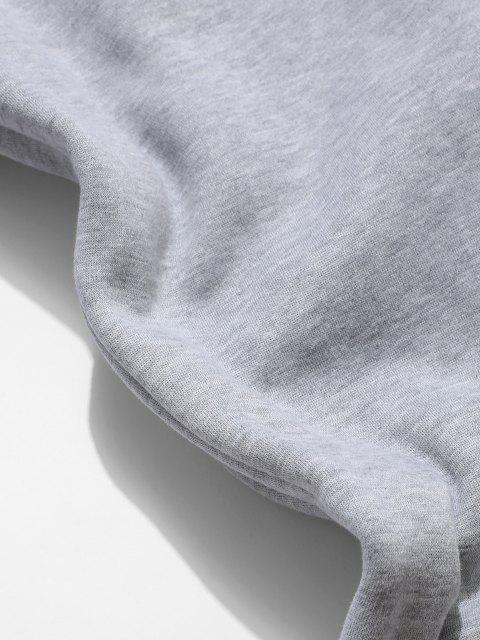 ZAFUL Pantalones Deportivos Lana Aplique Letras - Gris Claro L Mobile