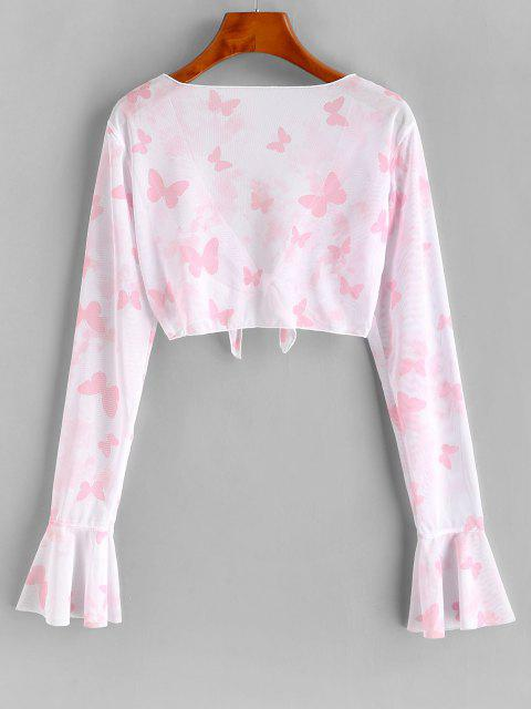 trendy ZAFUL Mesh Butterfly Print Tie Front Crop Cover Up Top - LIGHT PINK L Mobile