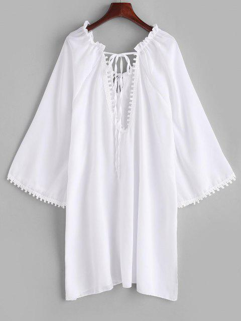 womens Ruffle Guipure Insert Keyhole Slit Cover Up Dress - WHITE S Mobile