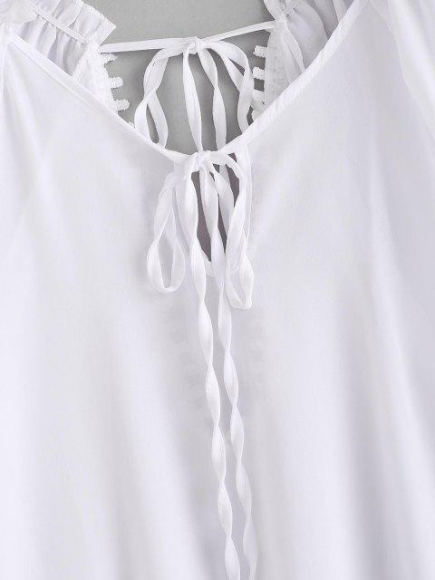 women Ruffle Guipure Insert Keyhole Slit Cover Up Dress - WHITE M Mobile