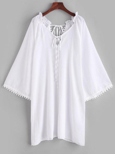 Rüschen Guipure Insert Schlitz Cover-Up Kleid - Weiß L Mobile