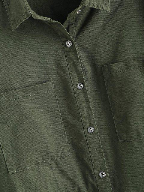 latest Frayed Patched Pockets Longline Shirt - FERN GREEN S Mobile