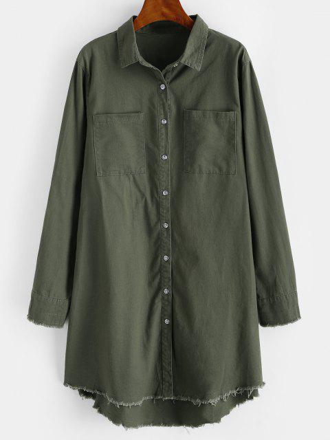 Camisa Largo con Parche Deshilado y Bolsillos - Verde de Helecho S Mobile