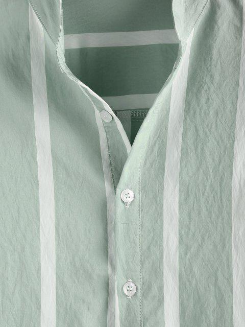 online ZAFUL Striped Print Half Button Long Sleeve Shirt - LIGHT GREEN M Mobile