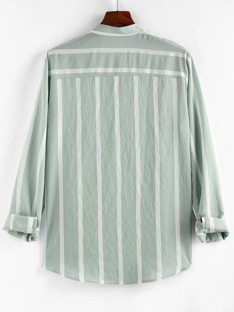 ZAFUL Striped Print Half Button Long Sleeve Shirt - اخضر فاتح XL Mobile