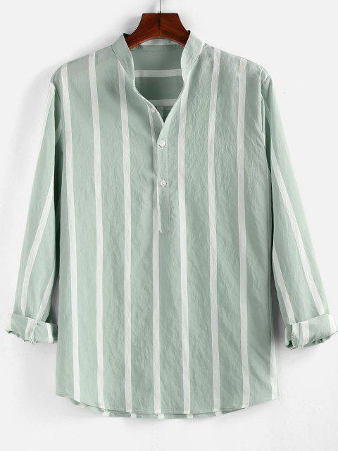 outfit ZAFUL Striped Print Half Button Long Sleeve Shirt - LIGHT GREEN 2XL Mobile