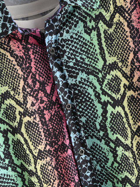 trendy Colorful Snake Print Button Up Shirt - MULTI XL Mobile