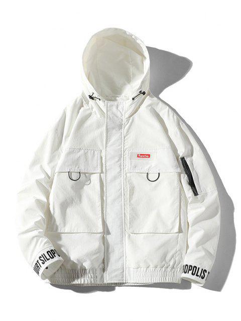 Jaqueta com Capuz de Bordado de Carta Bordados Flap - Branco 2XL Mobile