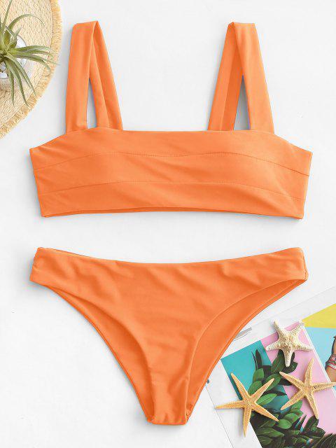 Bikini Bandeau en Ensemble Rembourré avec Larges Bretelles - Néon Orange L Mobile