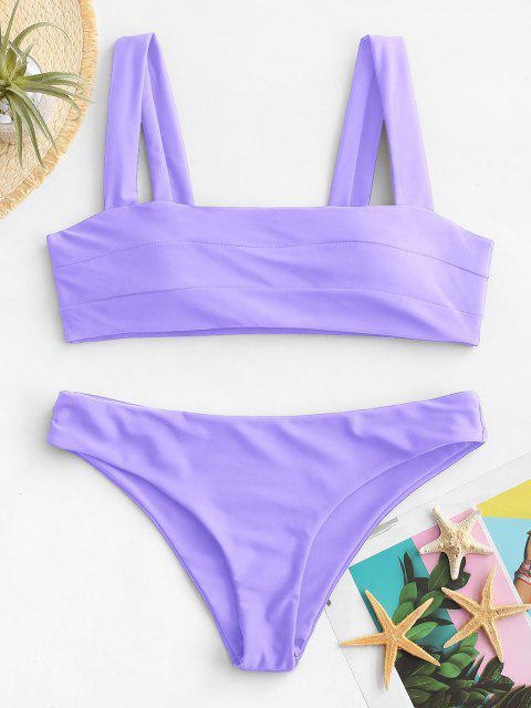 Bikini Bandeau en Ensemble Rembourré avec Larges Bretelles - Pourpre  L Mobile