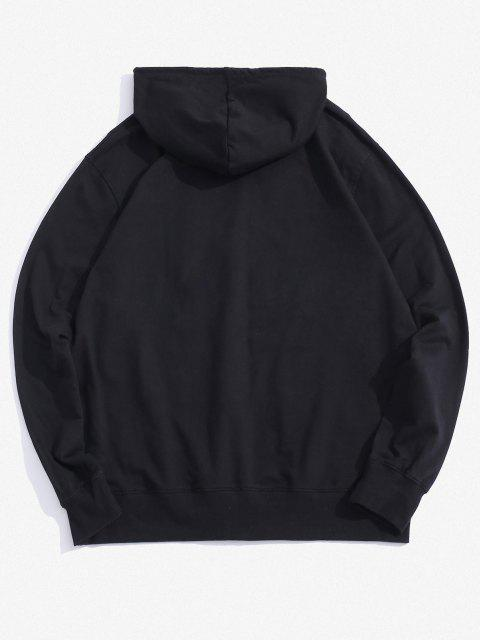 buy Halloween Daisy Skull Graphic Pouch Pocket Casual Hoodie - BLACK XL Mobile