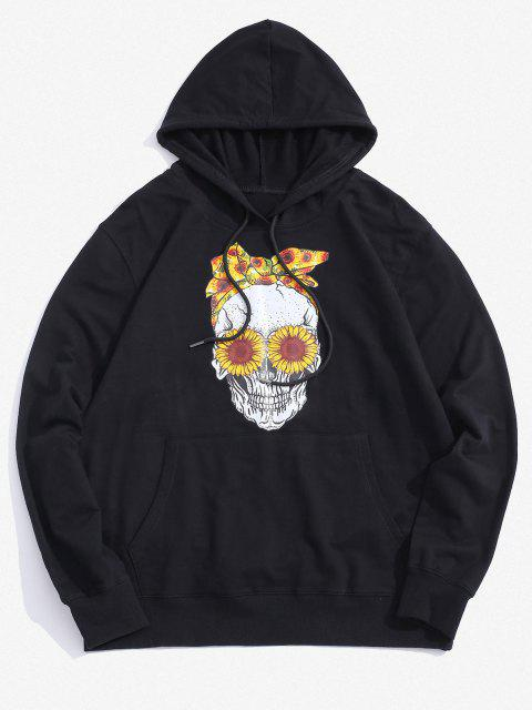 women Halloween Daisy Skull Graphic Pouch Pocket Casual Hoodie - BLACK L Mobile