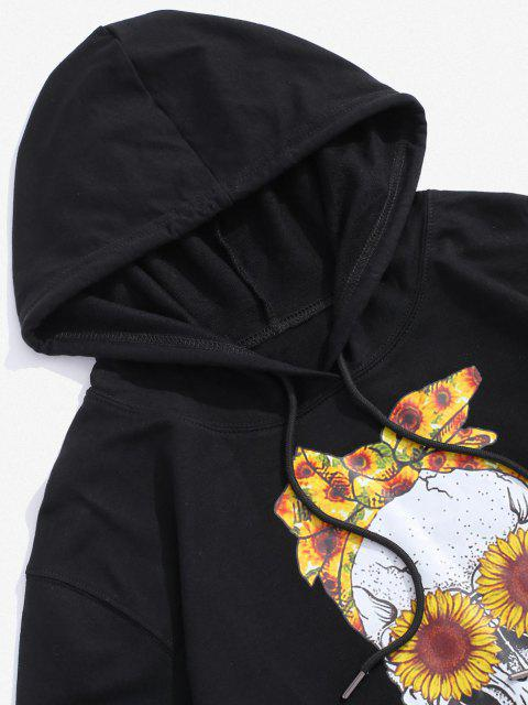 ladies Halloween Daisy Skull Graphic Pouch Pocket Casual Hoodie - BLACK S Mobile