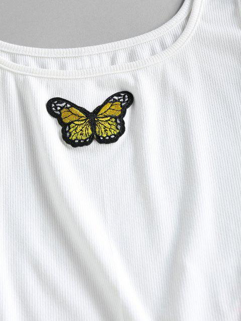 sale ZAFUL Ribbed Butterfly Applique Tank Bodysuit - WHITE M Mobile
