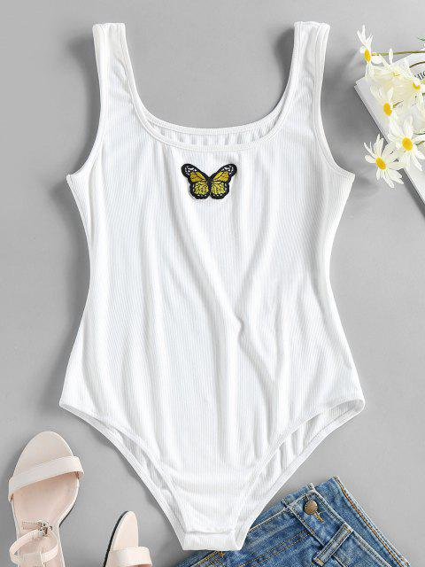 unique ZAFUL Ribbed Butterfly Applique Tank Bodysuit - WHITE S Mobile