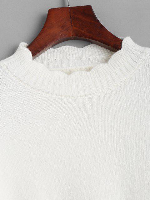 Überbackener Hängender Schulter Stehkragen Pullover - Weiß Eine Größe Mobile