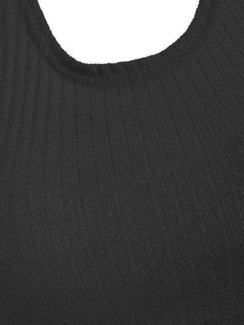 unique Ribbed Knit Crop Halter Top - BLACK L Mobile