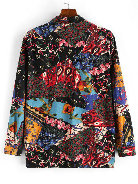 outfit Floral Patchwork Print Button Up Shirt - MULTI L Mobile