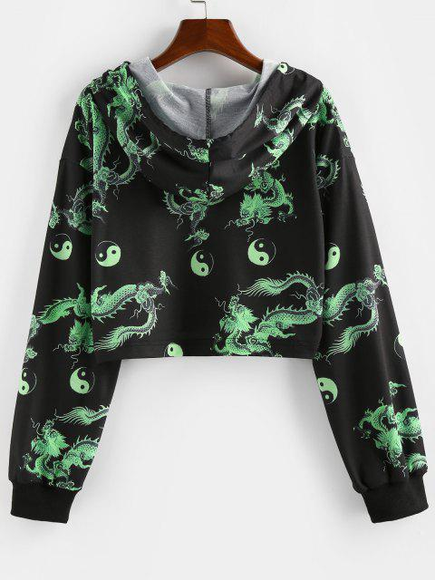 ZAFUL Chinoiserie Yin and Yang Dragon Print Crop Hoodie - أسود M Mobile
