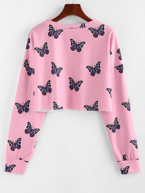 ZAFUL Crew Neck Butterfly Print Crop Sweatshirt - وردي فاتح XL Mobile