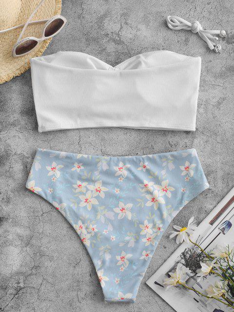 ZAFUL Blumen Gerippte Schlüsselloch Tankini Badebekleidung - Weiß XL Mobile