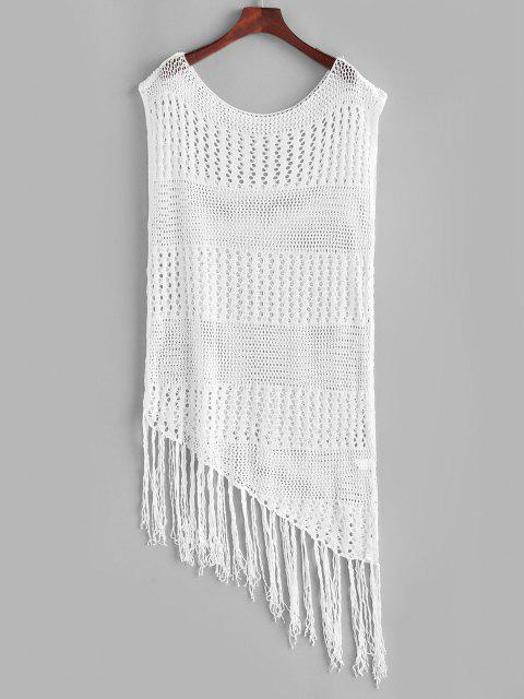 hot Asymmetrical Crochet Knit Tasseled Cover Up Dress - WHITE L Mobile