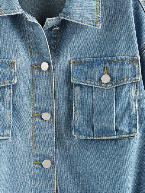 ZAFUL Veste Goutte Epaule avec Poche à Manchette Elastique en Denim - Bleu clair S Mobile