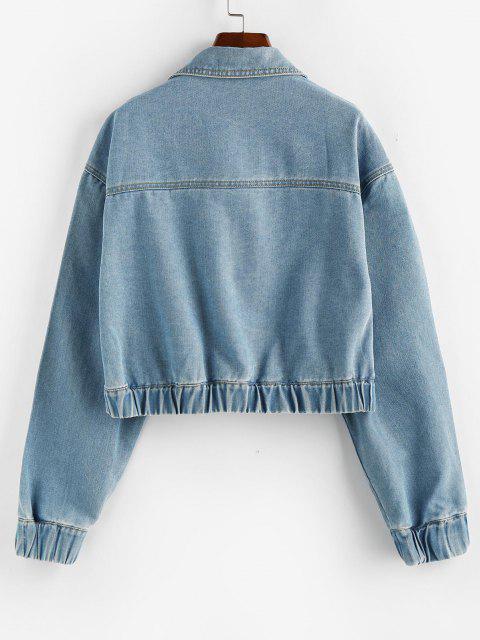 best ZAFUL Drop Shoulder Elastic Cuffs Pocket Denim Jacket - LIGHT BLUE M Mobile