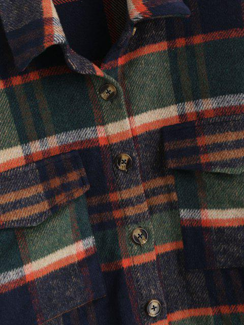 shop ZAFUL Flannel Plaid Shirt Jacket - DEEP GREEN M Mobile