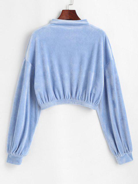 ZAFUL Mock Neck Velvet Cropped Sweatshirt - مسحوق أزرق L Mobile