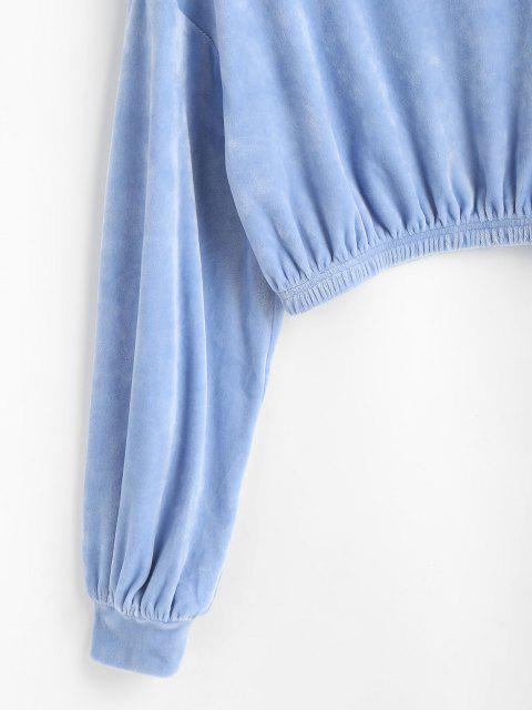 outfit ZAFUL Mock Neck Velvet Cropped Sweatshirt - POWDER BLUE L Mobile