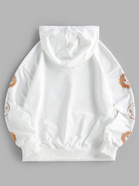 ZAFUL Sun Moon Print Drop Shoulder Pocket Hoodie - أبيض S Mobile