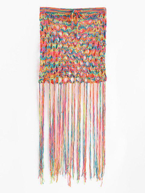 new Colorful Crochet Tasseled Trim Beach Skirt - MULTI ONE SIZE Mobile