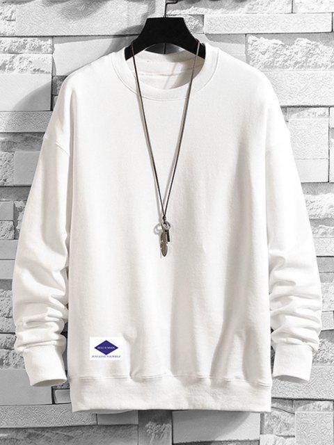 Sweat-shirtDécontractéGoutte Epaule à Col Rond - Blanc 4XL Mobile