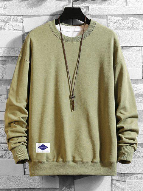 shop Lounge Crew Neck Drop Shoulder Sweatshirt - HAZEL GREEN 4XL Mobile