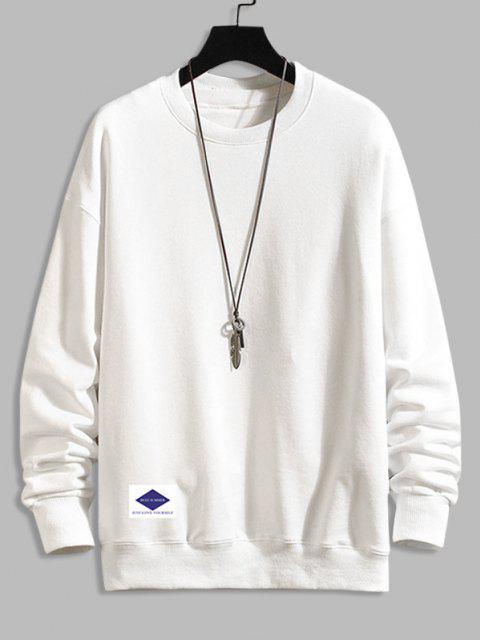 trendy Lounge Crew Neck Drop Shoulder Sweatshirt - WHITE 3XL Mobile