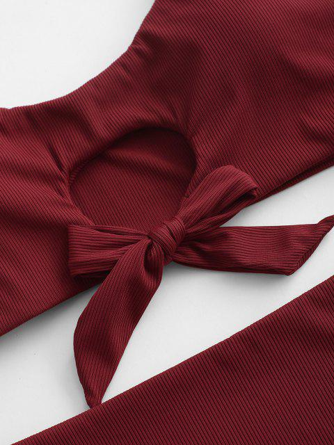 ZAFUL Gerippte Schlüsselloch Bowknot Tankini Badebekleidung - Tiefrot S Mobile