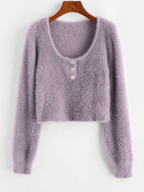 Suéter abotoado soltinho Meio - Luz roxa Um Tamanho Mobile
