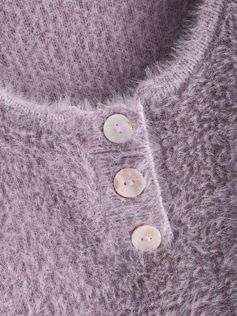 ハーフボタン付きファークロップドセーター - ライトパープル ワンサイズ Mobile