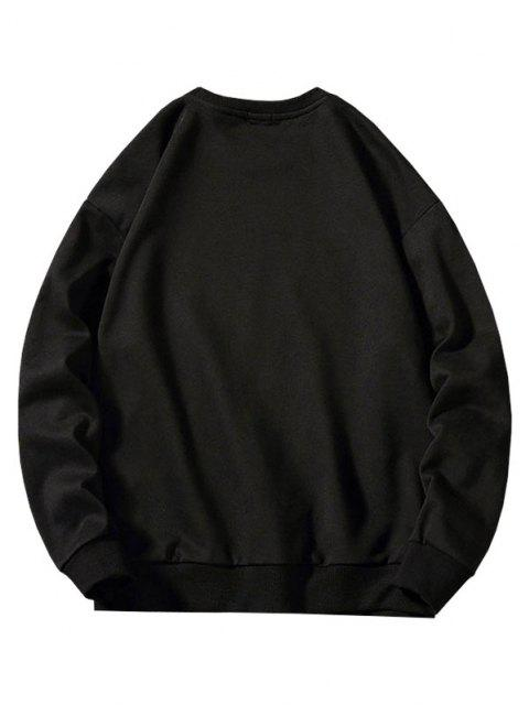 fashion Chinese Character Print Ribbed Hem Sweatshirt - BLACK XL Mobile
