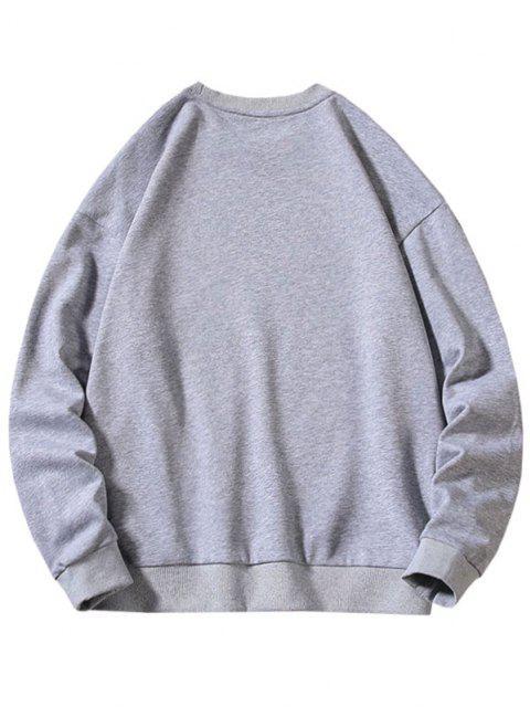 Sweat-shirt Caractère Chinois Imprimé à Ourlet Côtelé - Gris L Mobile