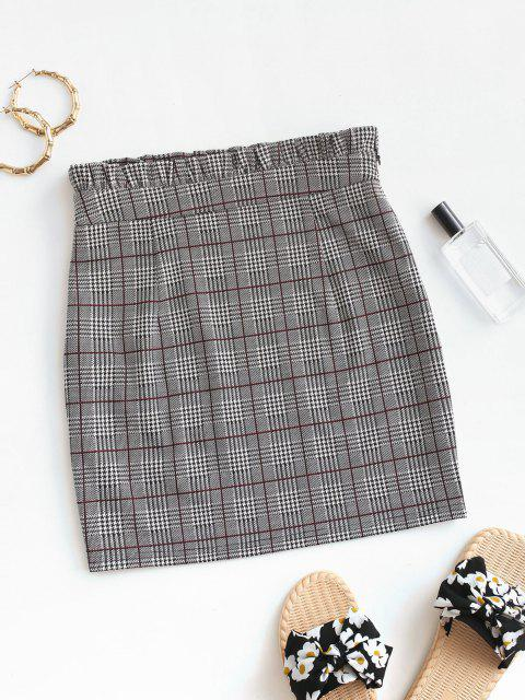 fashion ZAFUL Plaid Houndstooth Ruffle Bodycon Skirt - MULTI-A M Mobile