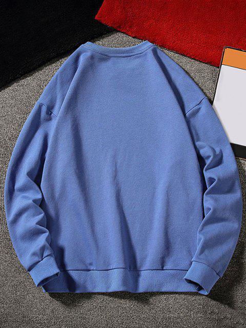Sweat-shirtLettreGraphiqueCaractèreChinoisImprimé - Bleu XS Mobile