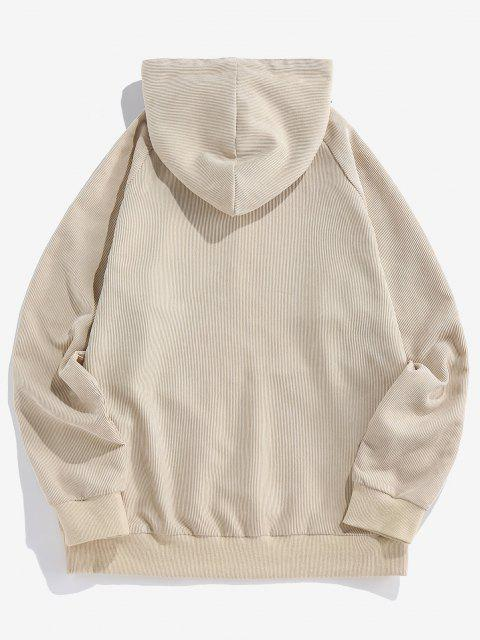online ZAFUL Letter Print Ribbed Raglan Sleeve Hoodie - LIGHT COFFEE XL Mobile