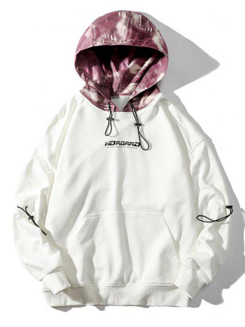 chic Letter Print Contrast Panel Drop Shoulder Hoodie - WHITE 2XL Mobile